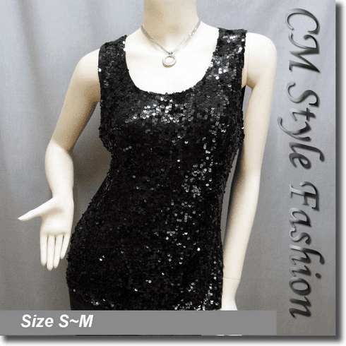 Glittering Sequin Tank Vest Top Black