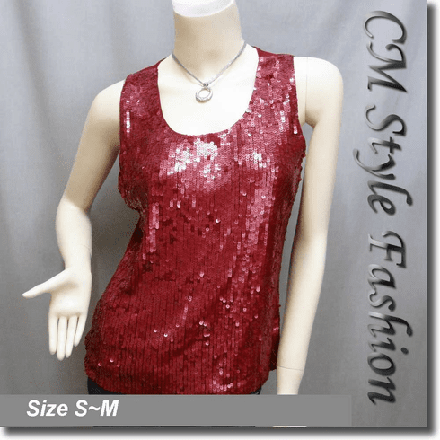 Glittering Sequin Tank Vest Top Burgundy