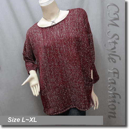 Glittering Silvery Threads Glam Pockets Boxy Sweater Top Red