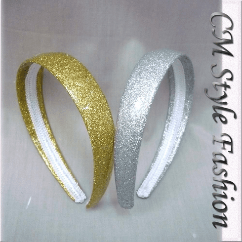 Golden / Silvery Colored Hair Bands (One Pair)