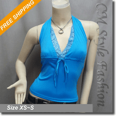 Halter Deep V Sexy Lace Fashion Top Blue
