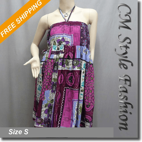 Halter Ethnic Batik Print Bohemian Tunic Dress / Skirt Purple