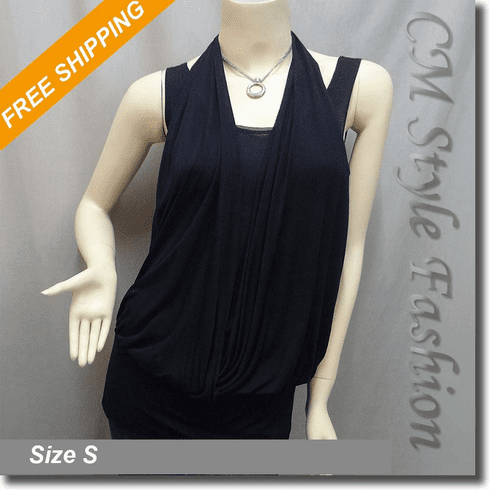 Halter Neck Crossover Boho Blouse Top Black