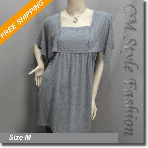 Handkerchief Sleeve Empire Waist Tunic Top Gray