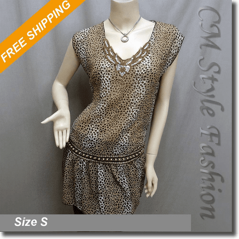 Hippie Chiffon Sequin Beaded Leopard Print Tunic Frock Top Brown