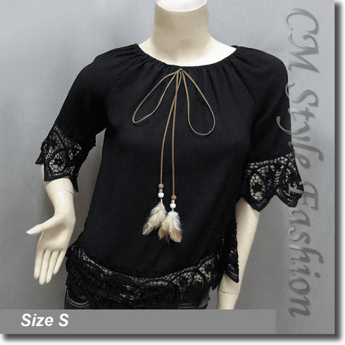 Hippie Crochet Trimmed Chiffon Peasant Boho Top Black