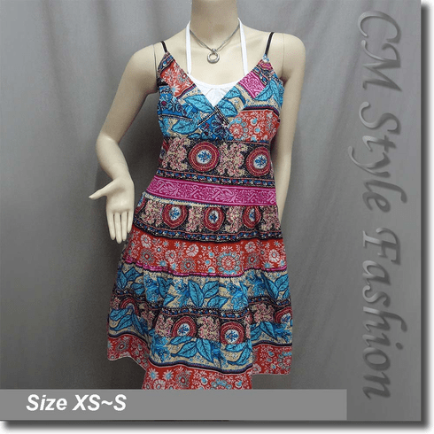 Hippie Ethnic Bohemian Floral Print Crossbust Tiered Sundress