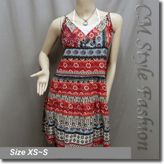 Hippie Ethnic Bohemian Floral Print Crossbust Tiered Sundress Multi-color
