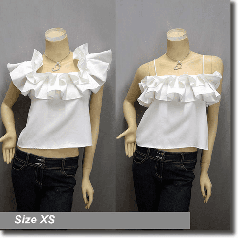 Hippie Two Way Off Shoulder Ruffle Boho Top Off White