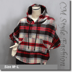 Hoodie Checked Tartan Plaid Gingham Poncho Top Multi-color
