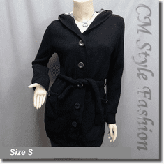 Hoodie Pockets Long Cardigan with Belt Black