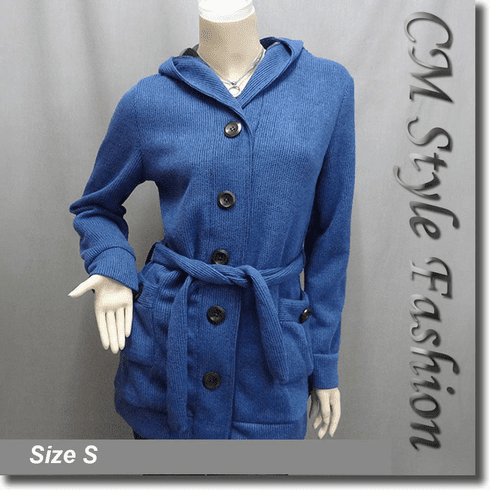 Hoodie Pockets Long Cardigan with Belt Blue