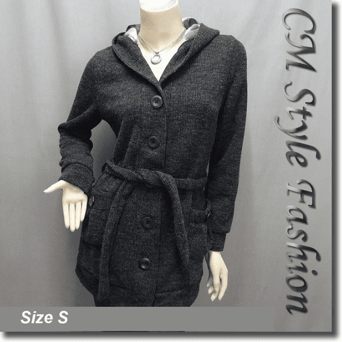 Hoodie Pockets Long Cardigan with Belt Gray