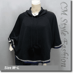 Hoodie Pom Pom Fringe Fleece Poncho Top Black