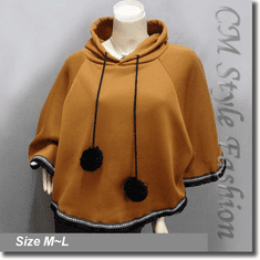 Hoodie Pom Pom Fringe Fleece Poncho Top Brown