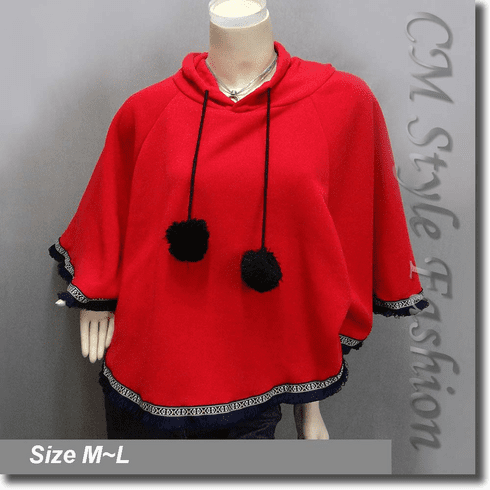 Hoodie Pom Pom Fringe Fleece Poncho Top Red