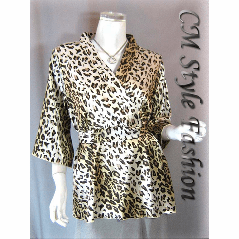 Japan Kimono Satin Top Leopard Prints