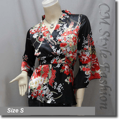 Japan Kimono Style Top Black Red