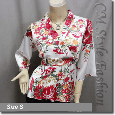 Japan Kimono Style Top White Red