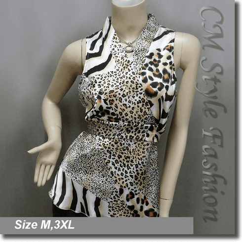 Japanese Kimono Sleeveless Blouse Top Leopard Prints