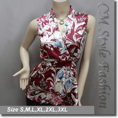 Japanese Kimono Sleeveless Floral Tank Top Burgundy