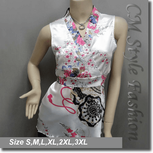Japanese Kimono Sleeveless Floral Tank Top White