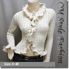 Knit Crochet Rippled Scallop Cardigan Top Beige