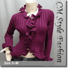Knit Crochet Rippled Scallop Cardigan Top Plum