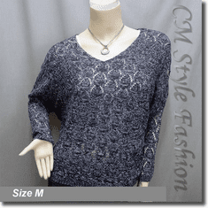 Knit Eyelet Crochet Crop Sweater Pullover Top Blue White