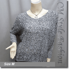 Knit Eyelet Crochet Crop Sweater Pullover Top Gray White