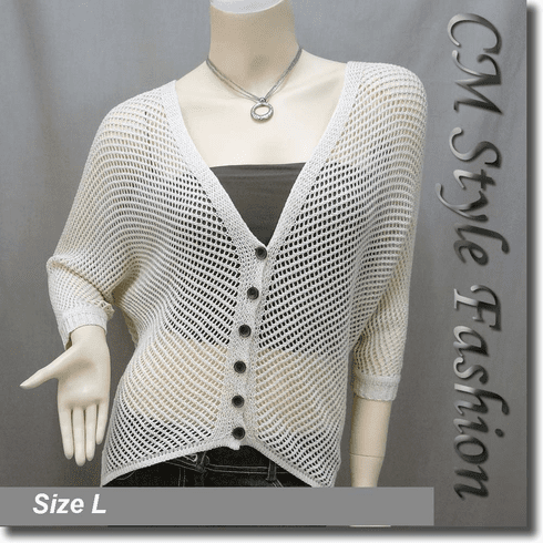 Knit Glittering Threaded Batwing Top Beige
