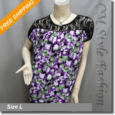 Lace Artistic Prints Blouson Boho Top Black Purple