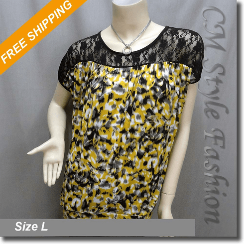 Lace Artistic Prints Blouson Boho Top Black Yellow