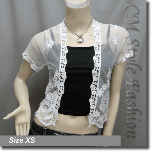 Lace Crochet Grossamer Sheer Bolero Crop Cardigan Shrug Top White