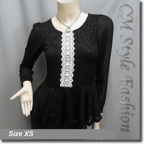 Lace Crochet Peplum Sheer Sleeve Blouse Top Black