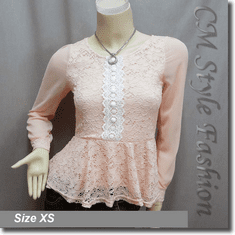 Lace Crochet Peplum Sheer Sleeve Blouse Top Pink