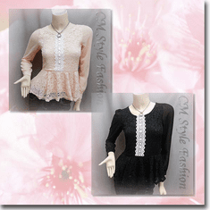 Lace Crochet Peplum Sheer Sleeve Blouse Top Series