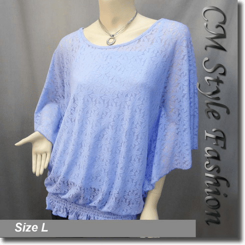 Lace Flowy Dolman Top w/ Camisole Dual Set Blue