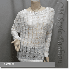 Lace Knit Sequin Boat Neck Sweater Blouse Top Off White