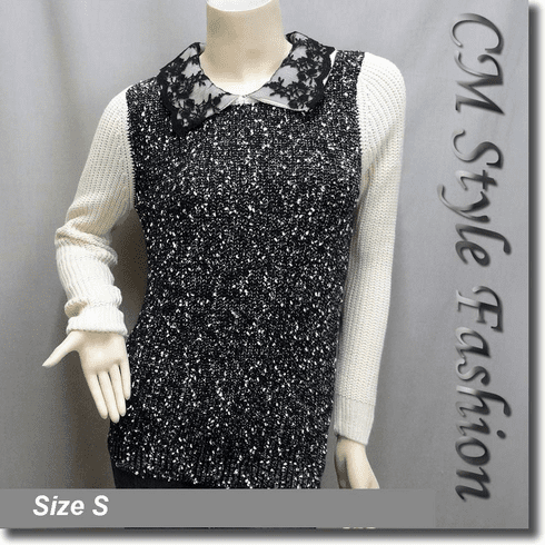 Lace Peter Pan Collar Sweater Top Black Beige