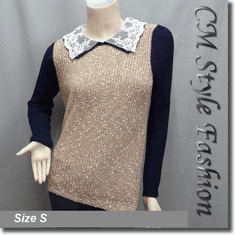 Lace Peter Pan Collar Sweater Top Brown Blue