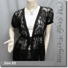 Lace Pockets Drawstring Tie Long Cardigan Tunic Top Black