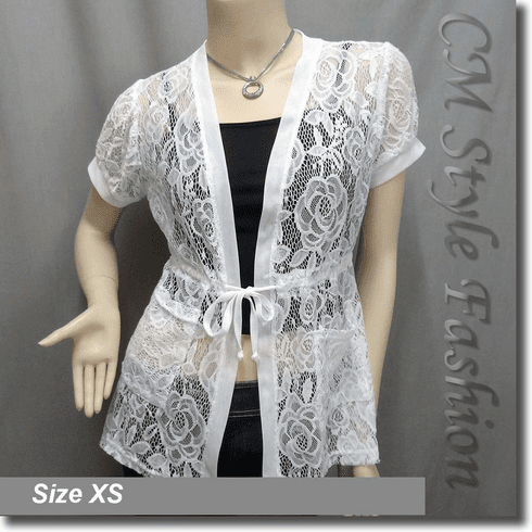 Lace Pockets Drawstring Tie Long Cardigan Tunic Top White