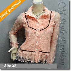 Lace Ruffled Shirt Blouse Boho Top Light Orange