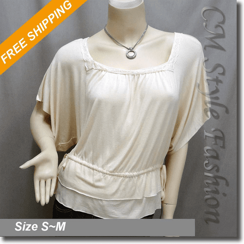 Lace Trimmed Batwing Drawstring Waistline Blouse Top Beige