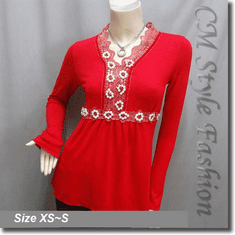 Lace Trimmed Beaded Rhinestone Empire Waist Boho Blouse Top Red