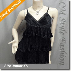 Lace Trimmed Ruffled Tiered Velvet Camisole Tank Top Black