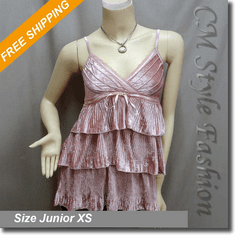 Lace Trimmed Ruffled Tiered Velvet Camisole Tank Top Pink