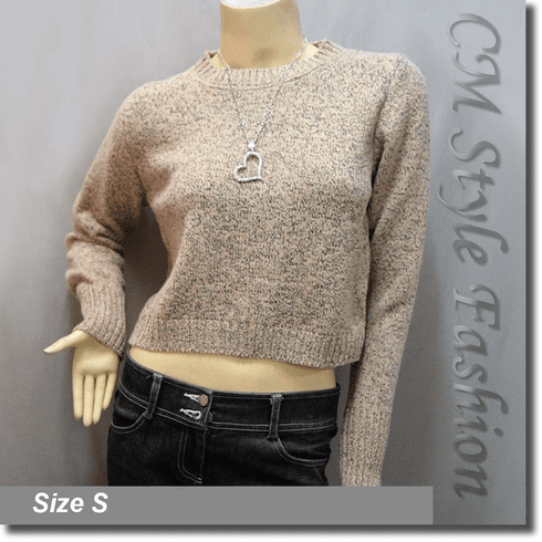 Lace Up Boxy Cropped Sweater Blouse Knit Top Beige