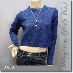 Lace Up Boxy Cropped Sweater Blouse Knit Top Blue